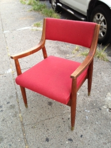 mid century chair red