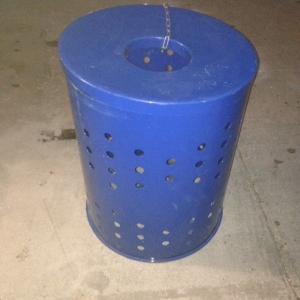 BLUE GARBAGE CAN