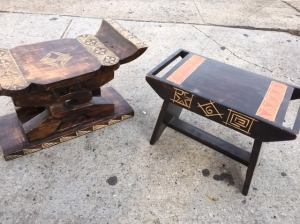 WOOD CARVED STOOLS