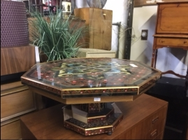 GLASS PAINTED TOP TABLE