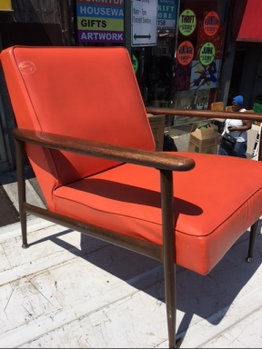 MID CENTURY ORANGE CHAIR 2