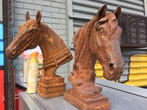 LARGE CAST IRON HORSES