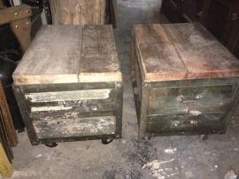 RECLAIMED WOOD INDUSTRIAL SIDE TABLES