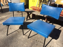 MID CENTURY BLUE CHAIR SET