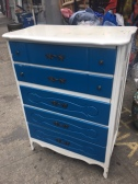 MID CENTURY FRENCH PROVINCIAL PAINTED TALL DRESSER