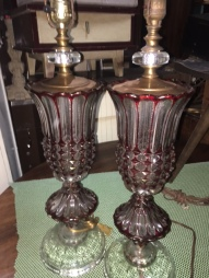 CRANBERRY GLASS TABLE LAMPS