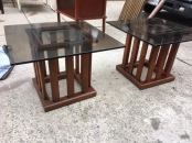 MID CENTURY GLASS SIDE TABLES