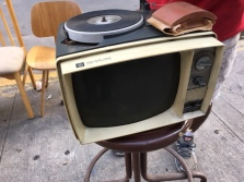 VINTAGE RECORD PLAYER WITH TV RARE