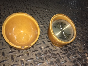 MID CENTURY THERMOMETER AND ASH TRAY SET