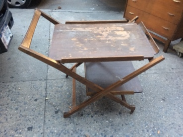 MID CENTURY WOOD BAR CART