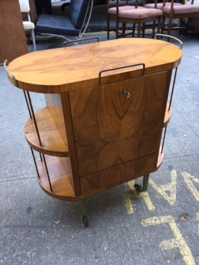 MID CENTURY MODERN BURL WOOD BAR 2
