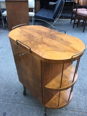 MID CENTURY MODERN BURL WOOD BAR 3