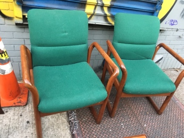 MID CENTURY WOOD FRAMED CHAIRS