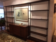 MID CENTURY MODERN CREDENZA AND BOOK SHELF SYSTEM