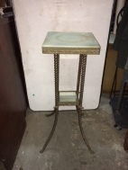 ANTIQUE BRASS AND MARBLE STAND