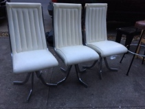 MID CENTURY WHITE CHAIRS WITH CHROME