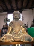 16 INCH ANTIQUE WOOD BUDDAH