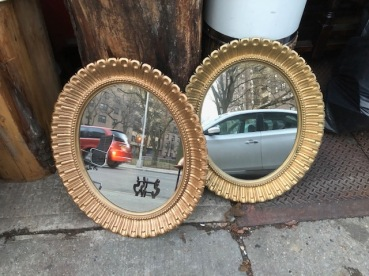 GOLD LEAF ROUND MIRRORS
