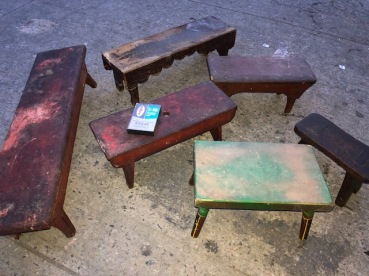 ANTIQUE SMALL WOOD STOOLS