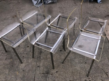 SIX LUCITE CHAIRS $600 2
