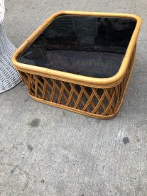 WICKER AND GLASS TABLE
