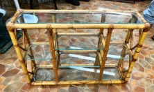 RATTAN GLASS SHELF UNIT