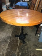 CAST IRON BASE TABLE BUTCHER BLOCK