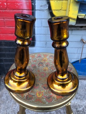 MERCURY GLASS CANDLE STICKS