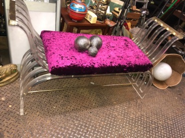 VELVET AND LUCITE BENCH