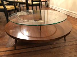 round 40 inch mid century modern coffee table