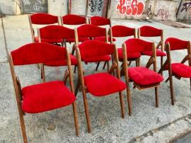 MID CENTURY VELVET FOLDING CHAIRS