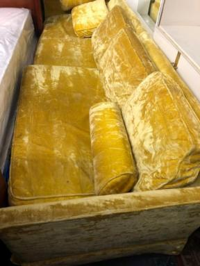 YELLOW VELVET COUCH