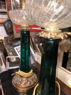 ANTIQUE GREEN GLASS LAMPS 2