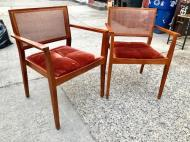CANE AND VELVET CHAIRS
