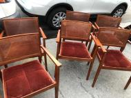 CANE AND VELVET CHAIRS 2