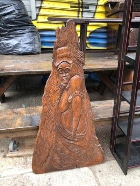 SIGNED WOOD CARVING