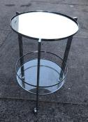 ROUND MIRROR TOP BAR CART