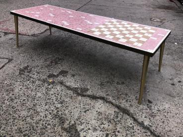 PINK TILE MID CENTURY COFFEE TABLE