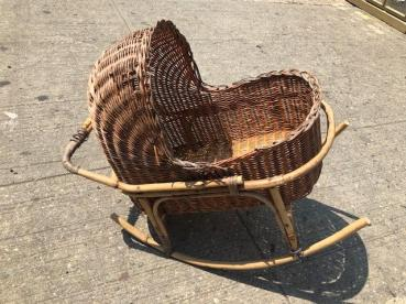 RATTAN BABY CARRIAGE