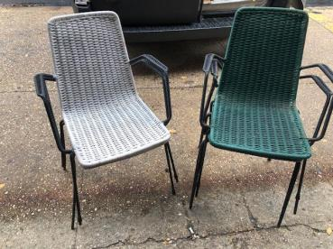 ITALIAN WROUGHT IRON STACKING CHAIRS