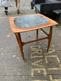 MID CENTURY BARBLE TOP TABLE