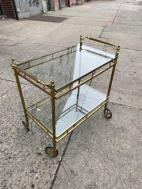 SOLID BRASS BAR CART