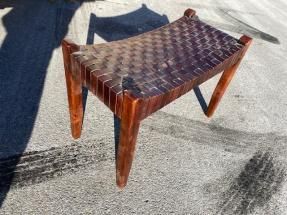 ROSEWOOD LEATHER BENCH