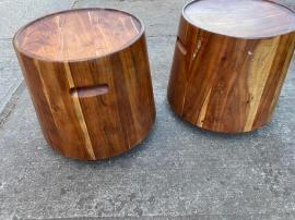 SOLID WOOD DRUM TABLE