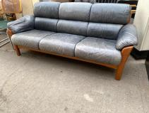 TEAK LEATHER EKORNES SOFA 2