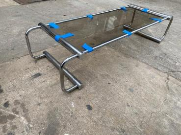 A CHROME DESIGNER MID CENTURY COFFEE TABLE